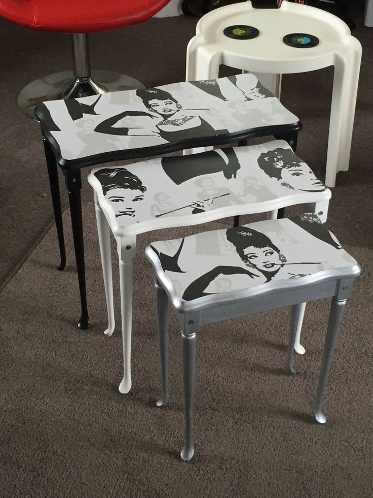 This lovely set of Mahogany tables was bought off spec, and the client is just delighted with the finish. She is a huge Audrey Hepburn fan, and loves the black, white & silver colour palette