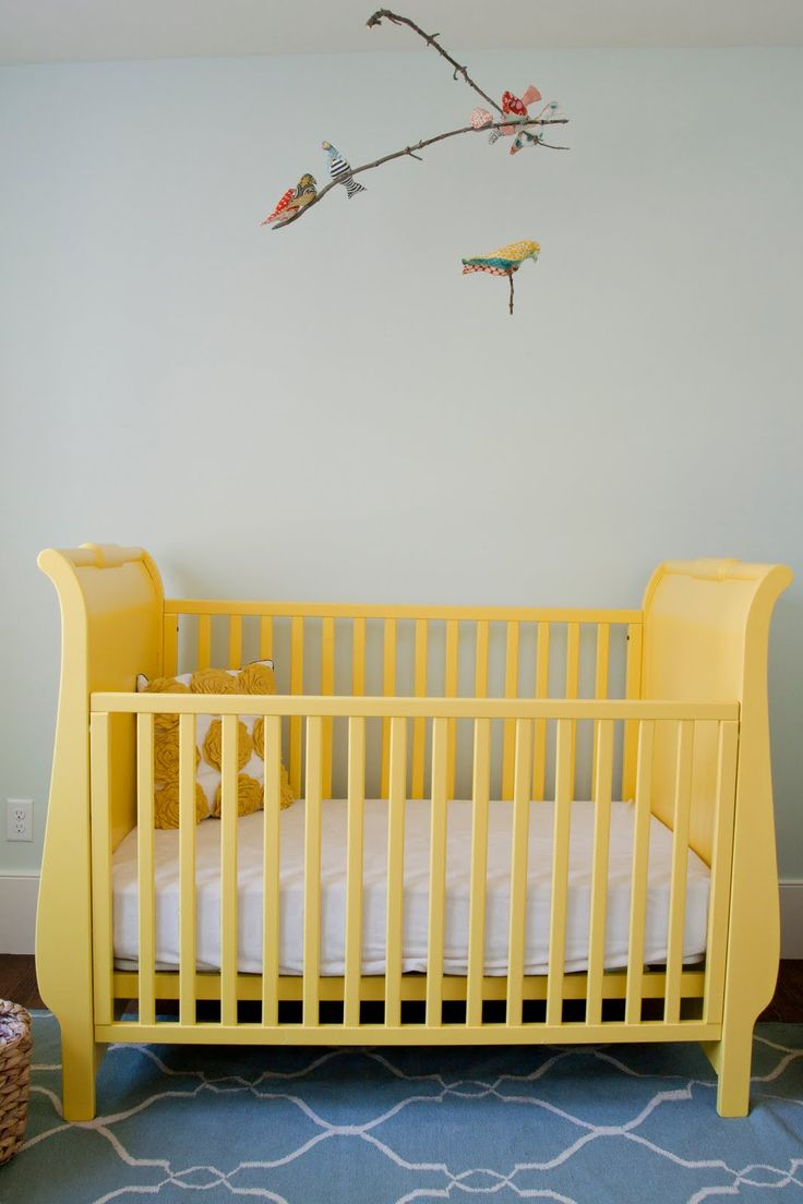 Painting Crib, Painted Cribs, Painted Furniture, Yellow Crib, Grey Yellow  Nursery
