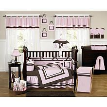 JoJo Designs Pink and Brown Hotel Baby Collection 9-Piece Crib Bedding Set - JoJo Designs