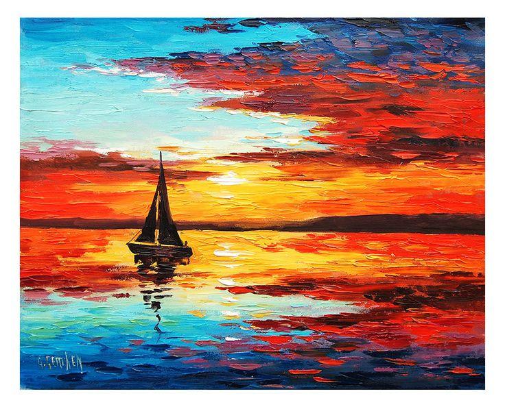 SAILBOAT PAINTING commissioned fine art ocean sunset seascape palette knife art.