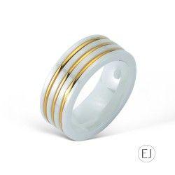 3 Sıra Altın / Beyaz Seramik Yüzük EJ4025 #elijahjewels #ring #rose #gold #thin #pembealtin #yuzuk #14k #zarif #istanbul #grandbazaar #design #style #fashion #jewellery #jewel #jewelry #whitegold #love #takı #mücevher #pırlanta #seramik #ceramic #white