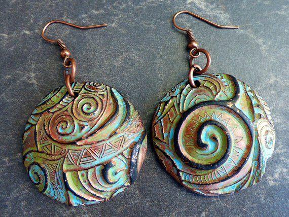 Triangular Earrings Abstract pattern Wearable art Abstract Vitreous Enamel Earrings Enamel on Copper