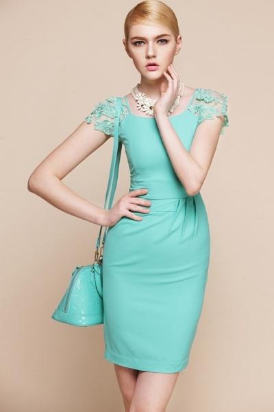 Elegant Sheer Lace Short Sleeve Pencil Dress