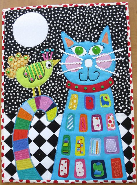 """""""Secrets at Midnight"""", 12 x 17"""", a swap quilt by Carol at mamacjt"""