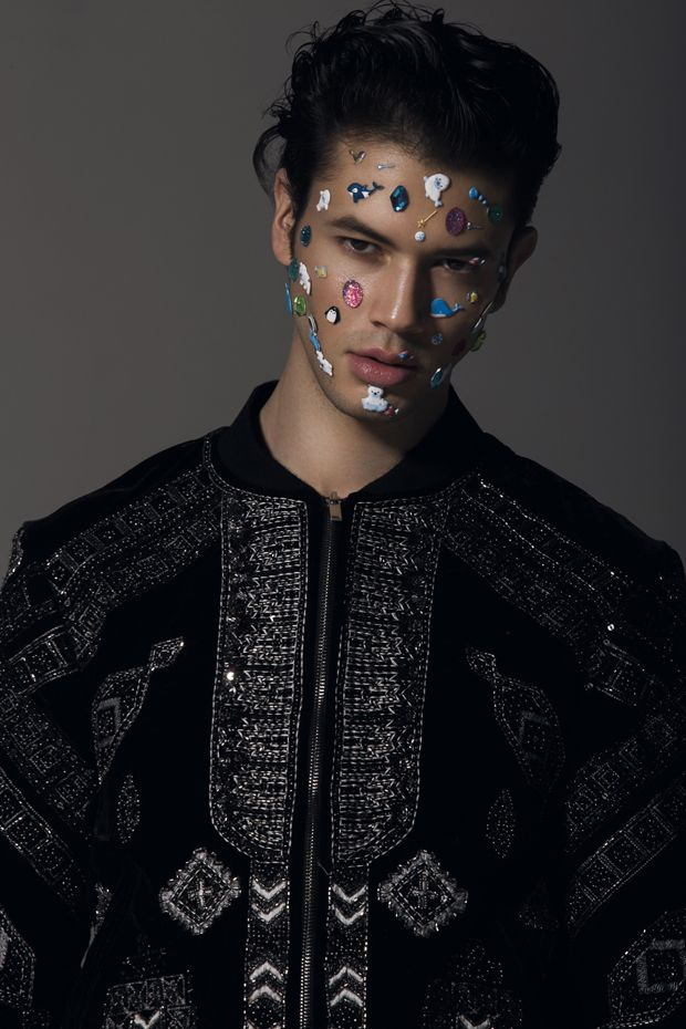 Photographer Frederic Monceau  Models Paul at 16Men and Adam at Rockmen Paris Stylist Mathilde Fouquet  Hair Stylist Christophe Pujol  Makeup artist Delphine Nicole using Nyx Cosmetics  Makeup Assistants Helene Garnero and Eve Dureau Location Studio de L'