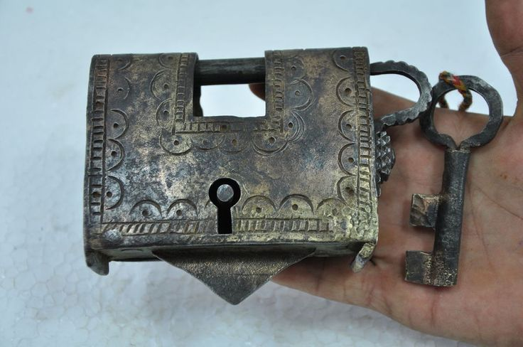 1940 's Old Iron Handcrafted Engraved Unique Shape Solid Padlock , Rich Patina