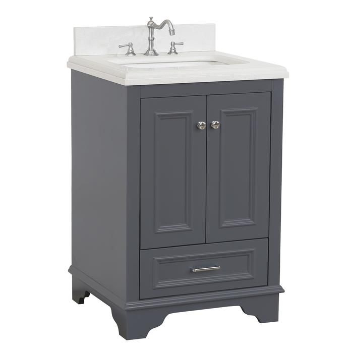Nantucket 24 Inch Vanity Quartz Charcoal Gray Bathroom Vanity