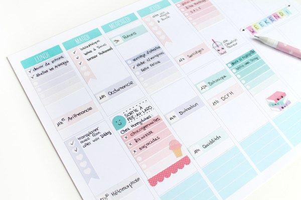 Des plannings ombré et des stickers pastel à découper soi-même et à télécharger gratuitement, pour être bien organisée pour la rentrée.