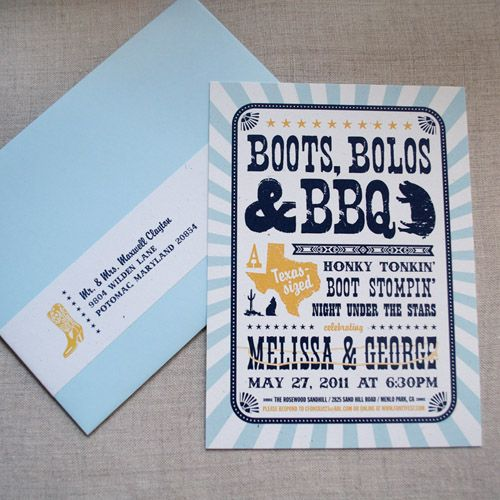 Really like the style of this western invitation. Tweak it into fiesta-like?