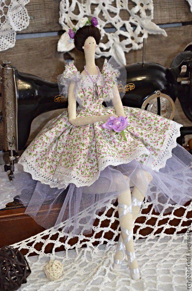 Купить Фелиция текстильная, интерьерная кукла Тильда балерина. - сиреневый, тильды, куклы тильды