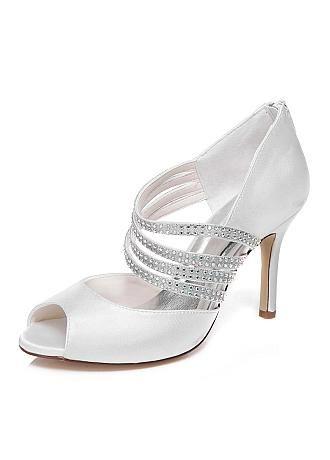Chic Satin Upper Peep Toe Stiletto Heels Bridal Shoes With Rhinestones