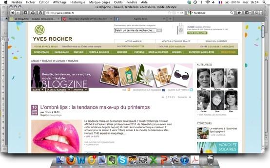 """Le Blogzine I Présenté sur le site comme """"Toutes les tendances beauté, mode et lifestyle...décryptées par nos blogueuses !"""". Un blog pour proposer du contenu informatif et utile aux consommatrices, et favoriser l'échange. Un espace à part (blog.yves-rocher.fr) qui reprend le haut et le pied de page du site principal.  #yvesrocher #digital"""