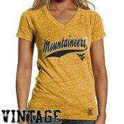 adidas West Virginia Mountaineers Ladies Her Varsity Selection V-Neck T-Shirt - Old Gold
