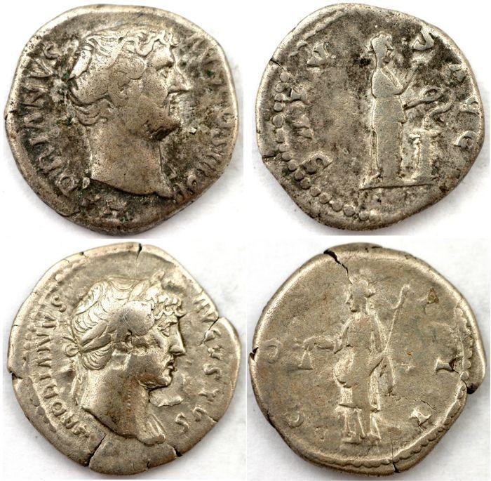 Romeinse keizerlijke - twee AR penning - Hadrianus - Salus Aug (17 mm 3 31g) & Libertas (19 mm 2 72g)  Er zijn tow Hadrianus AR denarius uw voorgelegd:1) Hadrianus (A.D. 117-138) zilveren denarius afgegeven 137 Rome muntObv: HADRIANVS AVG COS III P P - kale hoofd naar rechts van HadrianusRS: SALVS AVG - Salus staande naar rechts een slang die voortvloeien uit altaar voedingReferenties: S.3540 RIC 267 RSC 1334Diameter:  18 x 19 mmGewicht: 331 gKleur: zilver2) HADRIANUS. 117-138 AD. AR…