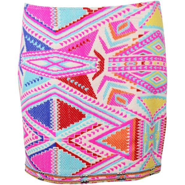 Neon Aztec Skirt ($68) ❤ liked on Polyvore featuring skirts, neon skirts, aztec print skirt, pink skirt, aztec skirt and neon pink skirt