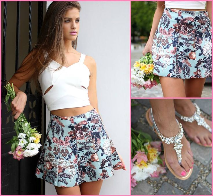 Floral #skirt and #croptop combo for summer...Available at www.famevogue.ro  #shopping #fashion #style #moda