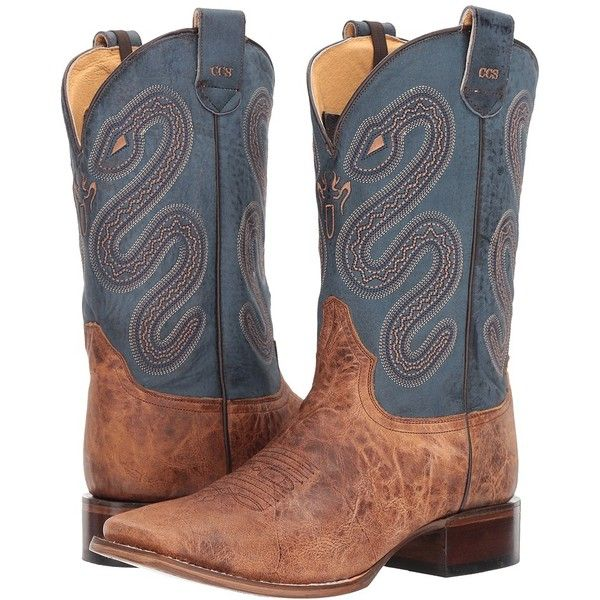 Roper Pierce (Tan Leather Vamp/Blue) Cowboy Boots ($230) ❤ liked on Polyvore featuring men's fashion, men's shoes, men's boots, mens leather slip on shoes, mens western cowboy boots, mens leather cowboy boots, mens blue boots and mens slip on boots