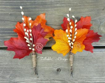 Fall Wedding Boutonniere Harvest Maple II by TellableDesign