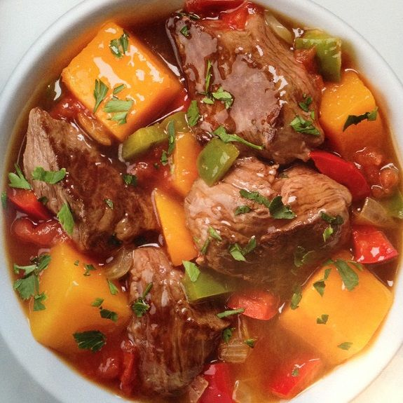 Beef stew with vegetables. Cubed stewing beef with vegetables and dry red wine cooked in slow cooker.Very easy and delicious!