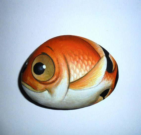 Painted stone GoldfishI s painted with acrylic by KanetisStones