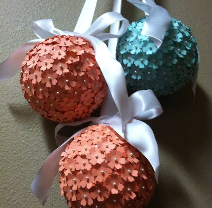 6 Inch Paper Flower Kissing Ball Pomander.  Bridal or Baby shower!!