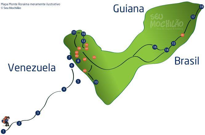 Veja as atrações do Monte Roraima. Veja o mapa e saiba o que te espera no cume do Monte Roraima.