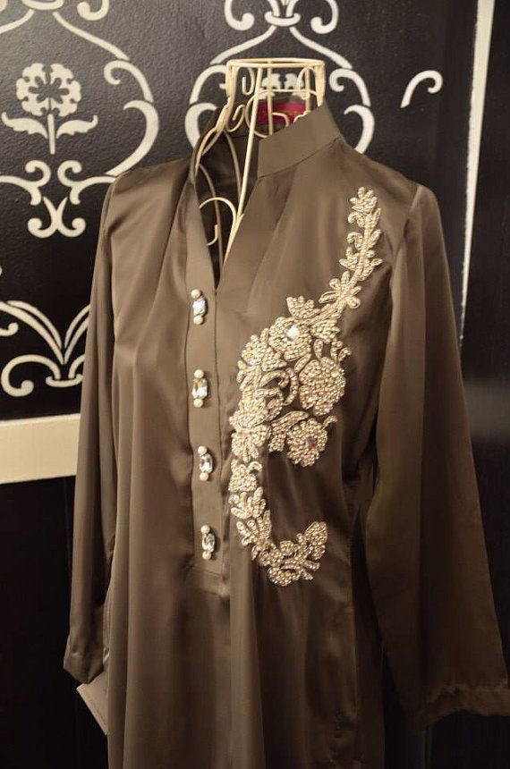 Pakistani designer olive green silk kurti crystal motif Indian desi Shalwar kameez medium large  on Etsy, $130.00