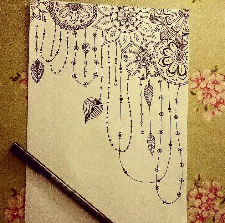 mandala style floral design, drawn by myself