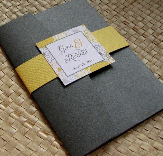 Reserved Listing For Andrea   Pocketfold Wedding Invitation In Grey And  Yellow, Party Invitation, Yellow And Grey Flower Invitation