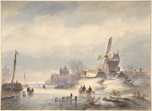 Lodewijk Johannes Kleijn (Dutch, 1817–1897). Winter Landscape with Frozen River, 19th century. The Metropolitan Museum of Art, New York. Purchase, Alain and Marie-Christine van den Broek d'Obrenan Gift, 2008 (2008.601) #snow