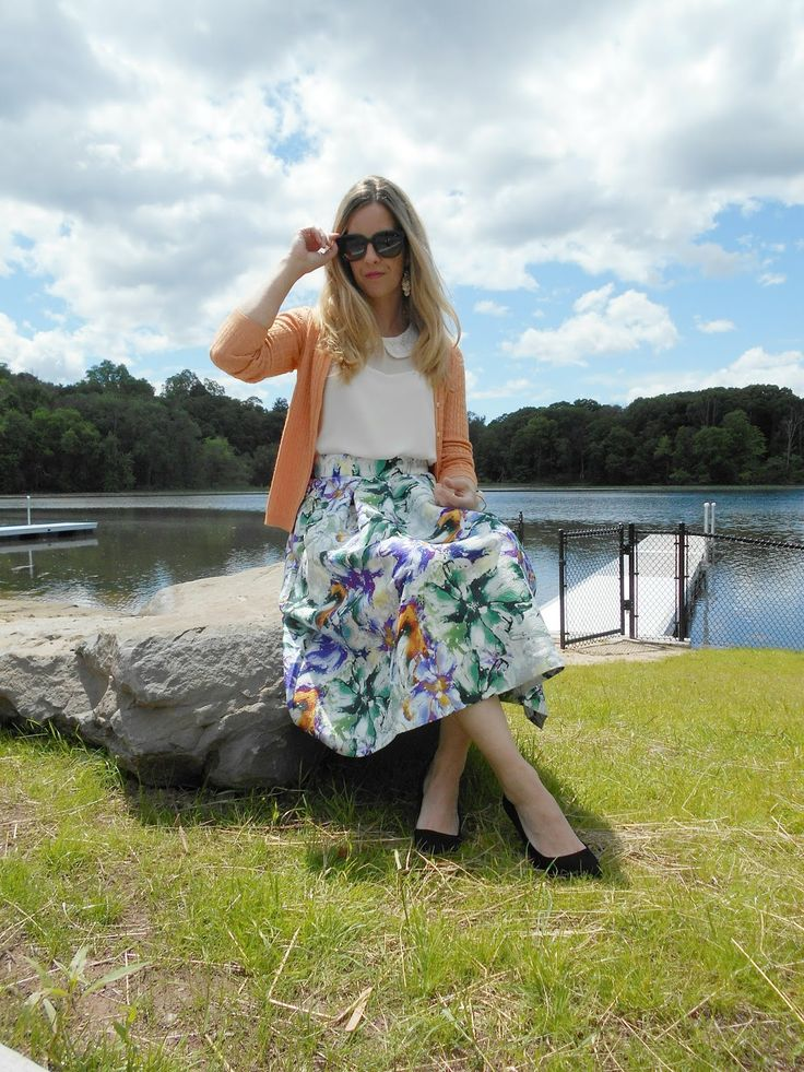 Preppy Spring outfit. Floral midi skirt: H&M (not available online; also love this ), Peter Pan collar blouse: Ann Taylor, Pe...