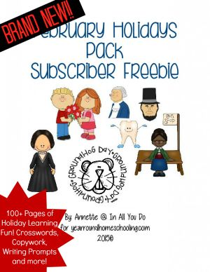 FREE February Holidays Pack with over 100 pages of activities for PreK - 5th grade!! :: www.yearroundhomeschooling.com