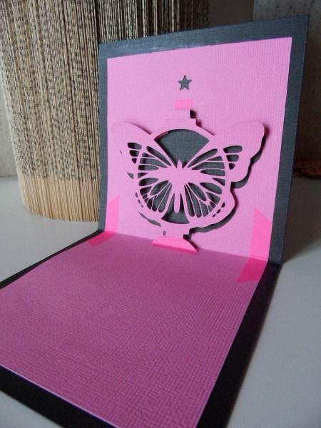 Carte Kirigami ,gros papillon rose : Cartes par made-by-newscrapeuse