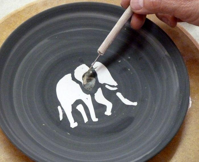 Pottery decoration ideas (latex-resist)