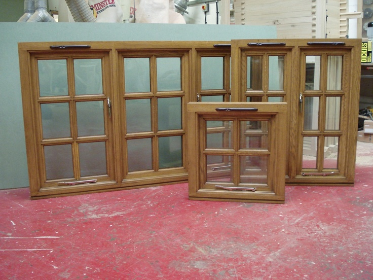 Set Of Hardwood Windows With Trickle Vents And Modern Styled Lockable Brass Furniture Made By