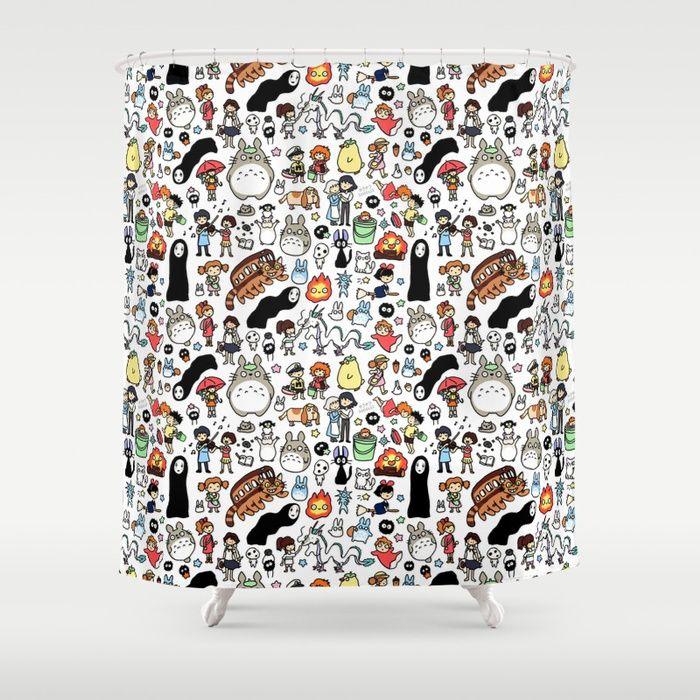 Buy Kawaii Ghibli Doodle Shower Curtain By Kirakiradoodles