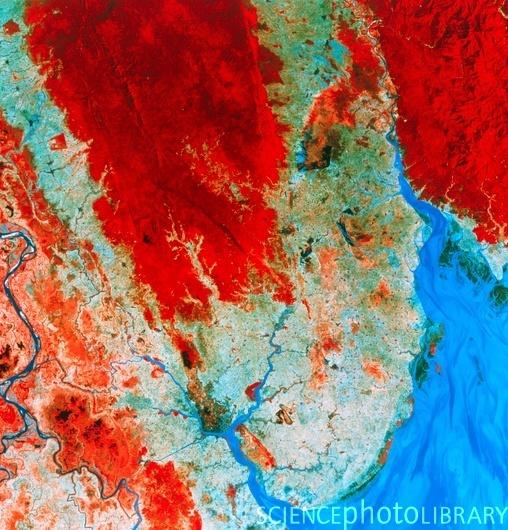 Infrared satellite image of Rangoon, Burma