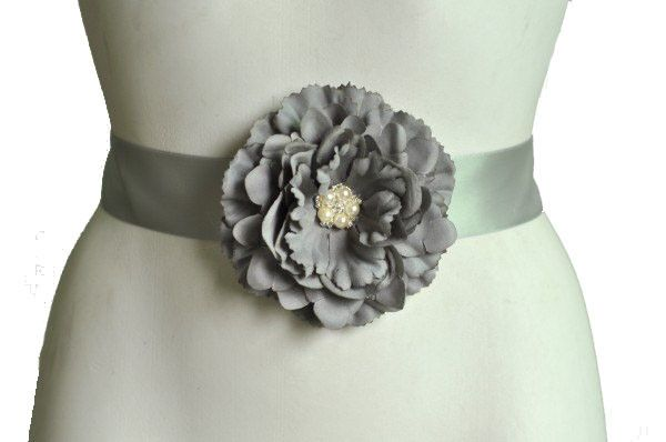 Maternity Belly Sash | Grey | Pearls & Crystal