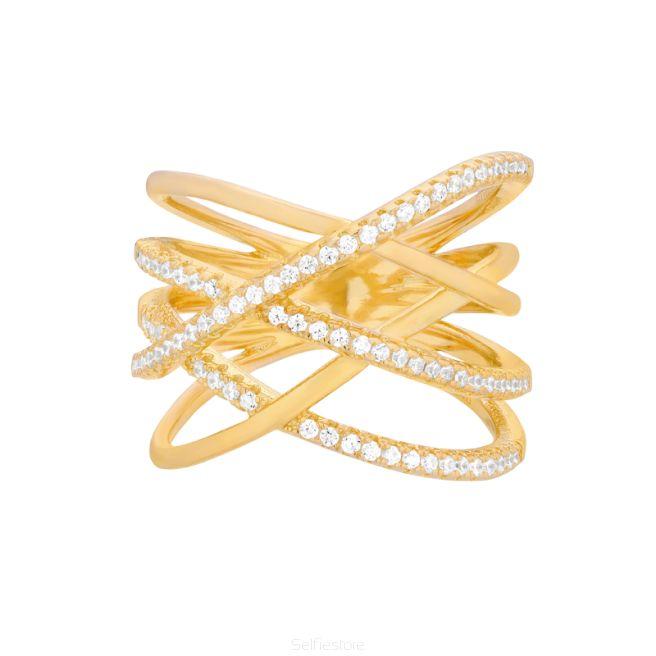 Pierścionek / tangled / złocenie / cyrkonie - Selfie Jewellery - Sklep Internetowy