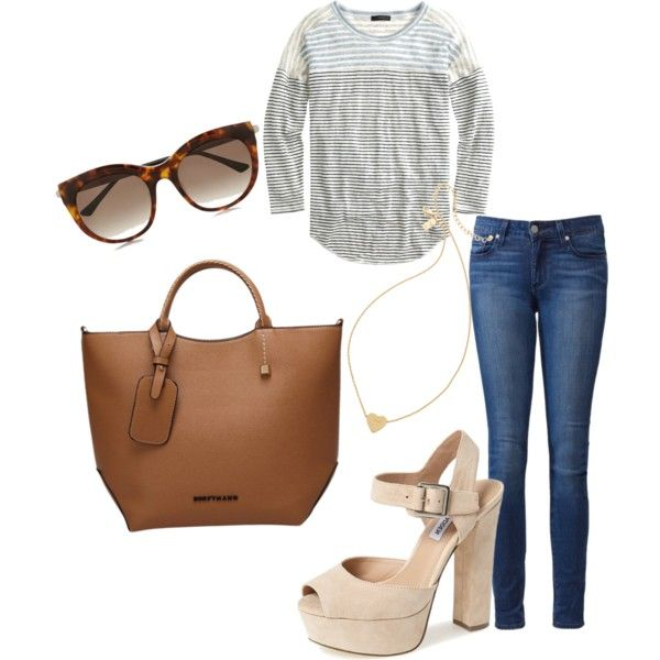 Untitled #153 by serdarsa on Polyvore featuring J.Crew, Paige Denim, Steve Madden, Kate Spade and Thierry Lasry