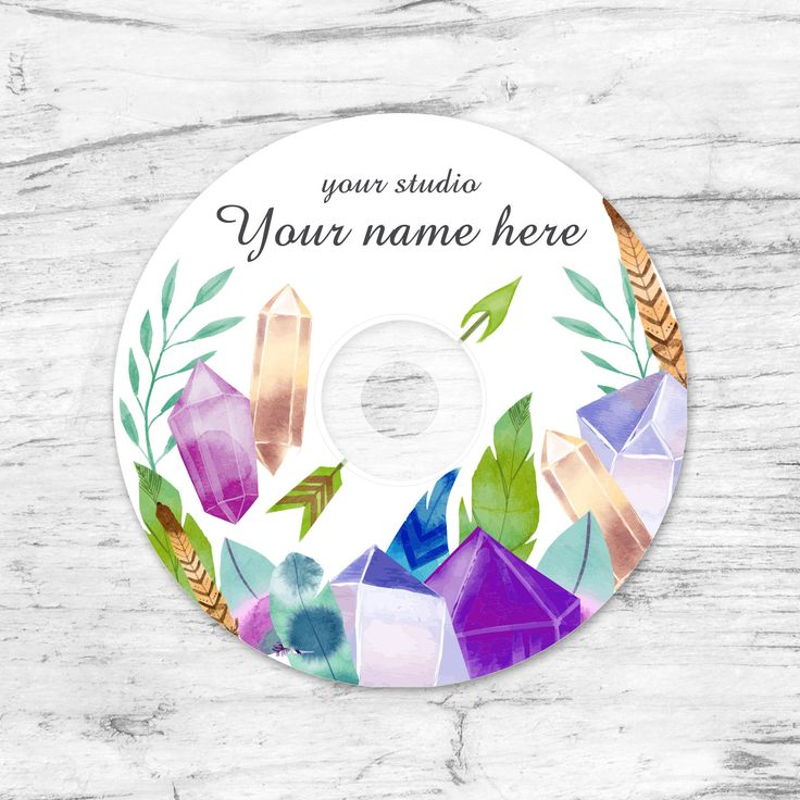 Wedding CD/DVD Label Template, Watercolor Boho, Wedding Label,  Instant Download. Photoshop Template. PSD. Printable Personalized by CameraClick on Etsy