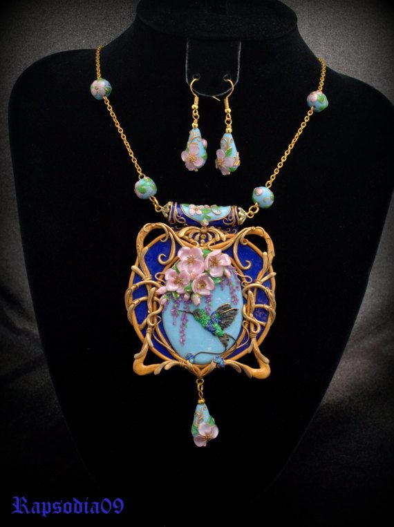 Jewelry Art Nouveau set Jewelry polymer clay by Rapsodia09ArtWork
