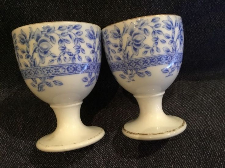 Pair of Blue and White Royal Worcester Egg Cups made in 1913 | eBay
