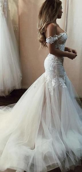 Charming Mermaid Off Shoulder Tulle Long Wedding Dresses With Appliques,VPWD374