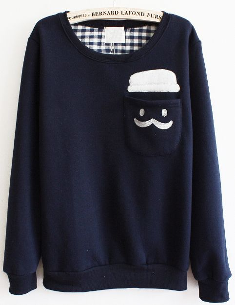 I just really like this even though big sweaters arent really my thing. Blue Long Sleeve Cartoon Pocket Sweatshirt