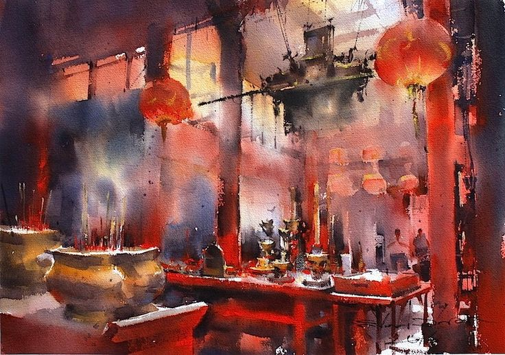 Direk Kingnok, 1976 | Watercolor Cityscape painter | Tutt'Art@ | Pittura • Scultura • Poesia • Musica