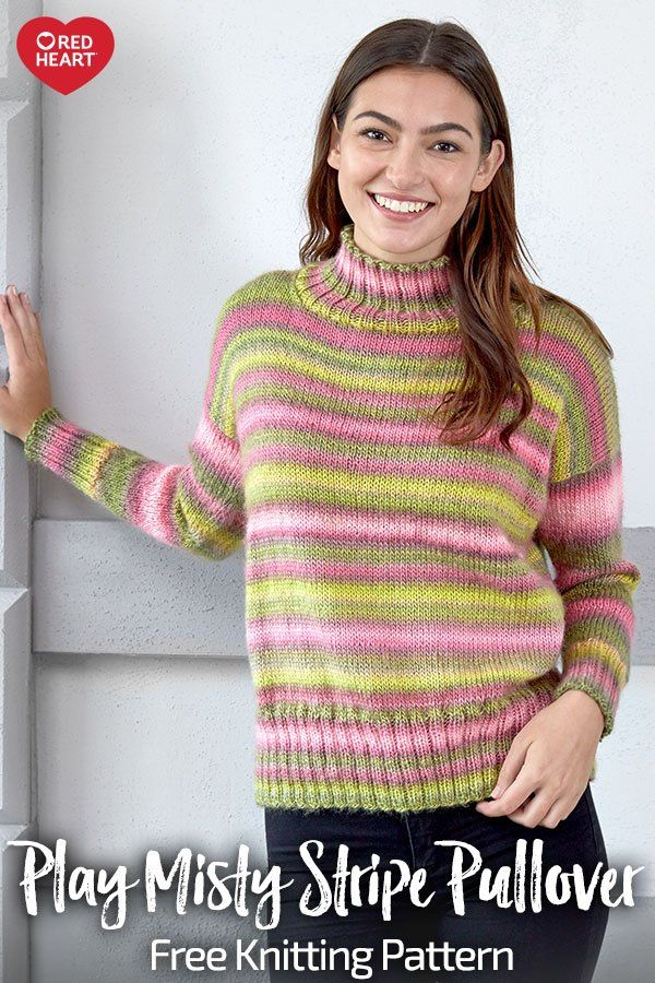 45fdb634679b62 Play Misty Stripe Pullover free knit pattern in Unforgettable yarn. This  wonderful yarn automatically gives you stripes wit…