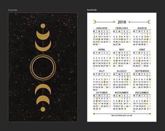 2018 Moon Lunar Calendar Moon Phases Mini Calendar Pocket
