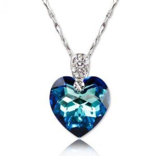 Blue Crystal Heart Pendant on Metal Chain