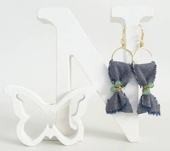 Denim Earrings Fabric Earrings Boho EarringsDangle